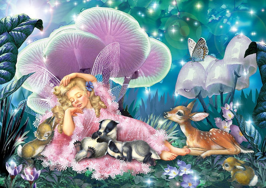 fairy asleep and baby badgers