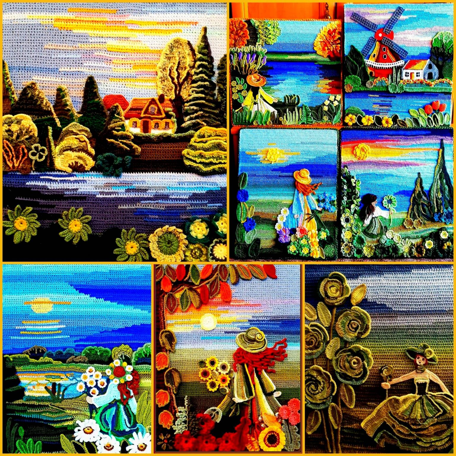 Вязаные картины крючком от Beata Bylinka