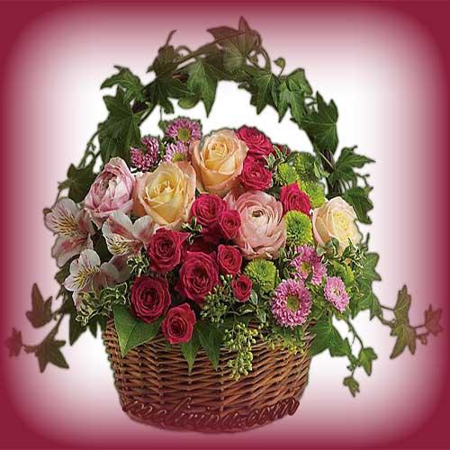 mini korzina roz