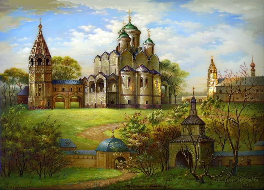 Русь святая, купола златые! Федоскинская лаковая миниатюра